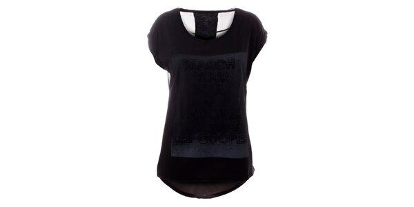 Dámské černé tričko s průsvitnými zády Lee Cooper