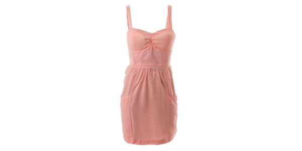 Dámské růžové bavlněné šaty s tulipánovou sukní Lee Cooper