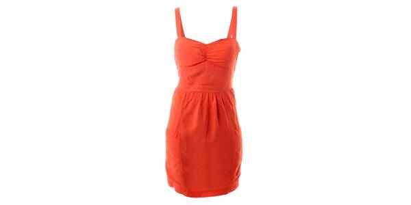 Dámské oranžové bavlněné šaty s tulipánovou sukní Lee Cooper