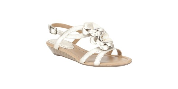 Dámské metalické sandálky s květinou Clarks