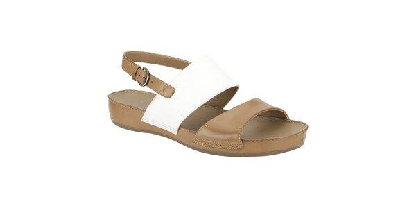 Dámské krémovo-hnědé kožené sandále Clarks