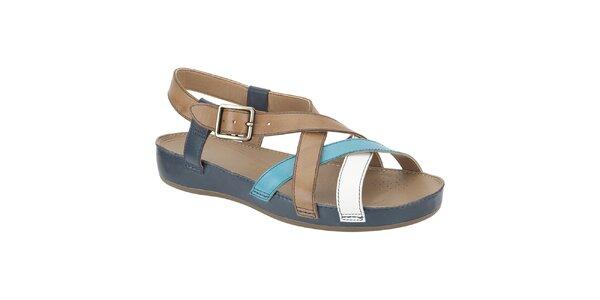 Dámské modro-béžové kožené sandále Clarks