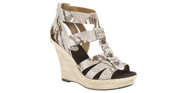 Dámské béžové sandálky s hadím vzorem Clarks