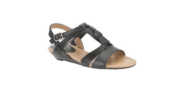Dámské černé kožené sandálky Clarks