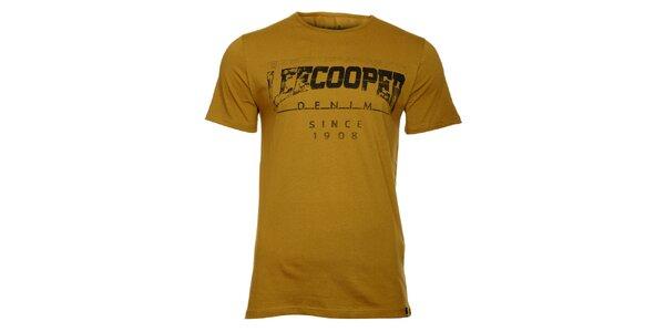 Pánské khaki tričko Lee Cooper s černým potiskem