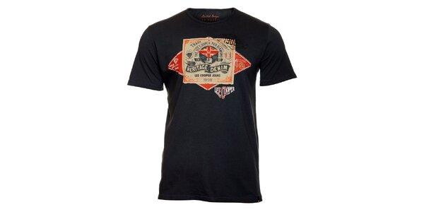 Pánské tmavě šedé tričko Lee Cooper s potiskem