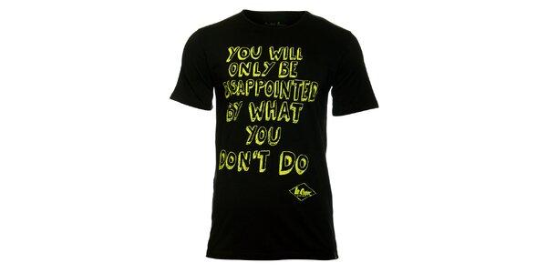 Pánské černé tričko Lee Cooper se žlutým potiskem