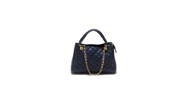 Dámská tmavě modrá prošívaná kabelka Sonia Ricci se zlatým řetízkem