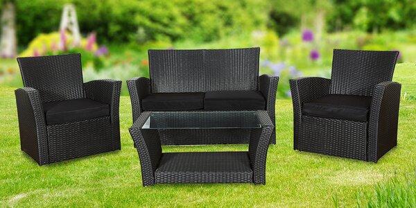 Zahradní sedací souprava včetně proskleného stolku