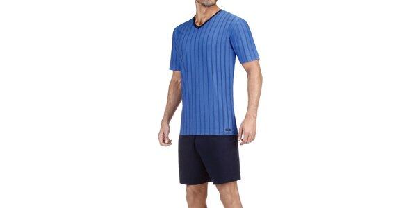 Pánské modré pruhované pyžamo Impetus