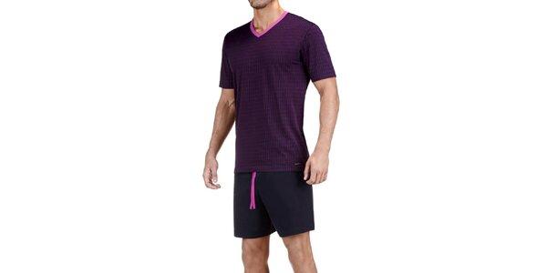 Pánské černo-fialové pyžamo Impetus s kostkovaným vzorem