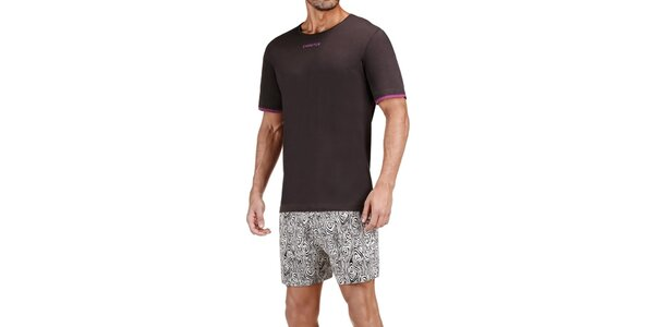 Pánské hnědo-béžové pyžamo Impetus s ornamentálním vzorem