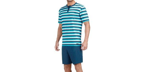 Pánské tyrkysově modré pruhované pyžamo Impetus