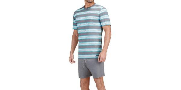 Pánské šedo-modré pruhované pyžamo Impetus