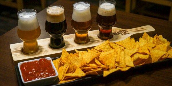 Degustace čtyř řemeslných piv a nachos se salsou