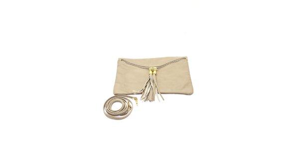 Dámská šedo-béžová kabelka se zlatými zipy Free for Humanity