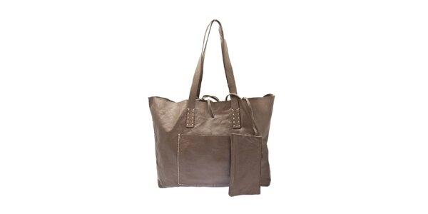 Dámská šedo-béžová kožená kabelka Free for Humanity