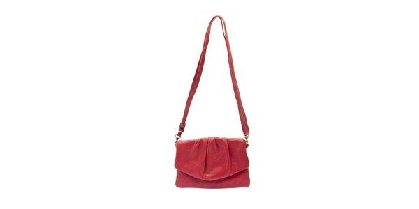Dámská červená kožená kabelka s řasením Free for Humanity