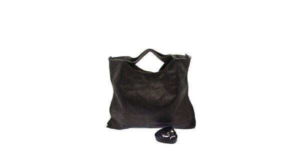 Dámská černá kožená kabelka s postranními zipy Free for Humanity