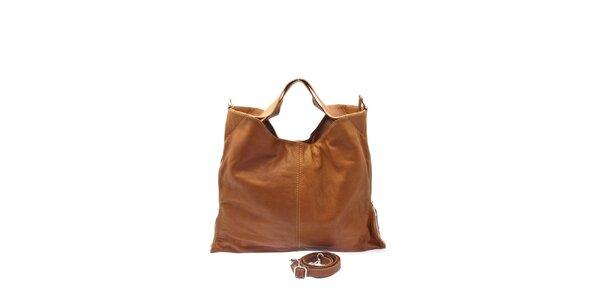Dámská velbloudí kožená kabelka s postranními zipy Free for Humanity
