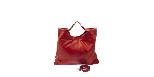 Dámská červená kožená kabelka s postranními zipy Free for Humanity