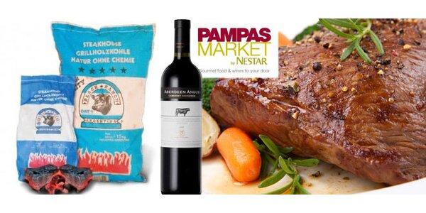 Uruguayský steak Maminha, argentinské uhlí a víno