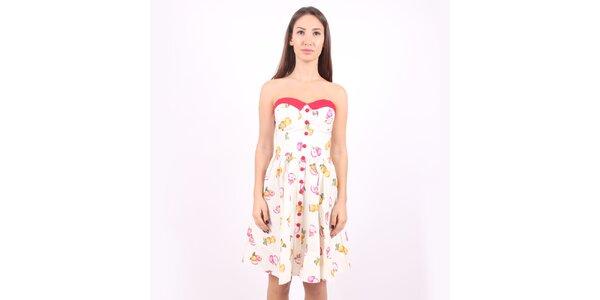 Dámské růžovo-bílé šaty Superstition s motivem jablíček