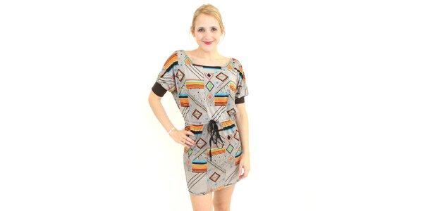 Dámské šedohnědé šaty Superstition s barevným vzorem