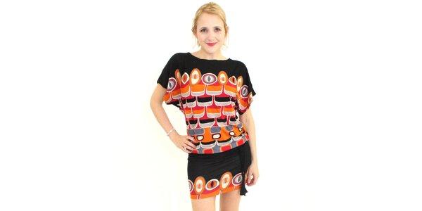 Dámské černo-oranžové vzorované šaty Superstition