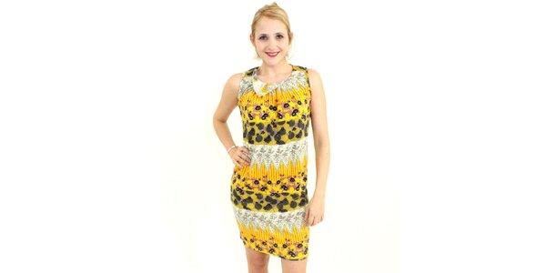 Dámské žluté šaty Superstition s květinovým vzorem