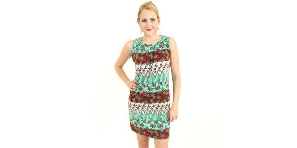 Dámské tyrkysovo-hnědé šaty Superstition s květinovým vzorem