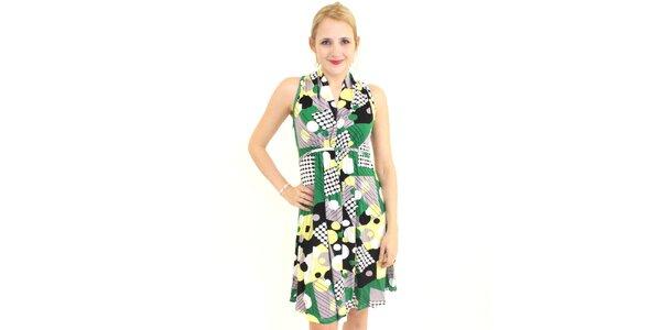 Dámské zeleno-šedé vzorované šaty Superstition