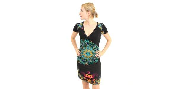 Dámské černé šaty Superstition s barevným vzorem