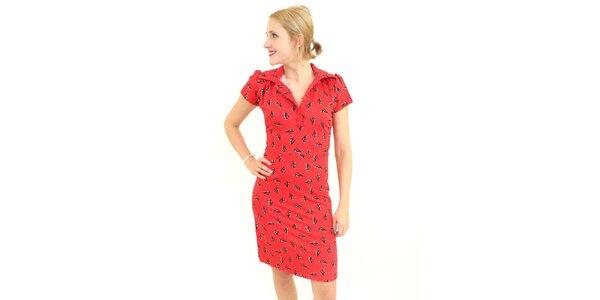 Dámské červené šaty Superstition s potiskem