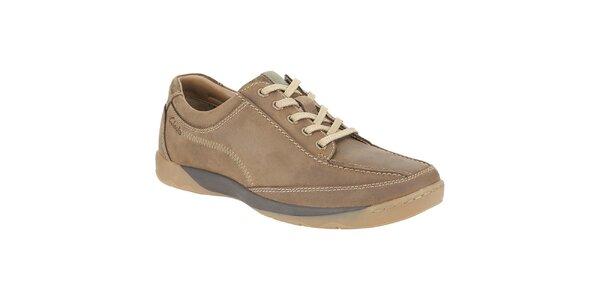 Pánské hnědé kožené boty Clarks