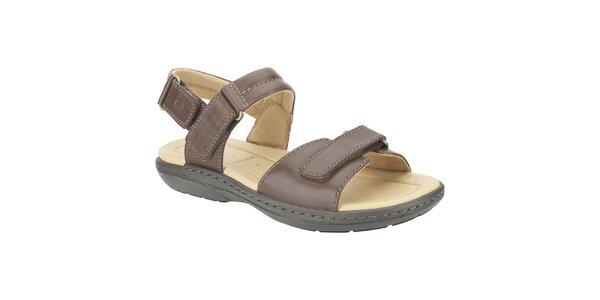 Pánské tmavě hnědé kožené sandále Clarks