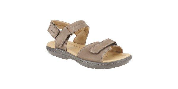 Pánské světle hnědé kožené sandále Clarks
