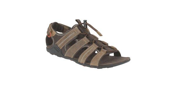 Pánské hnědé kožené sandále Clarks