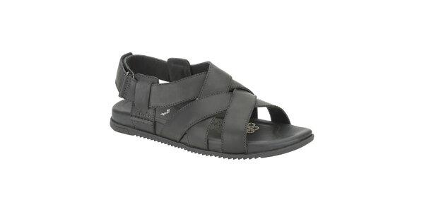 Pánské černé kožené sandále Clarks
