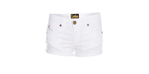 Dámské bílé elastické mini šortky Lois