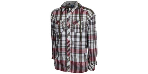 Pánská šedorůžová kostkovaná košile Chiemsee s kapucí