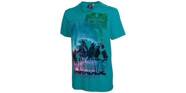 Pánské tyrkysově modré surfařské triko Chiemsee