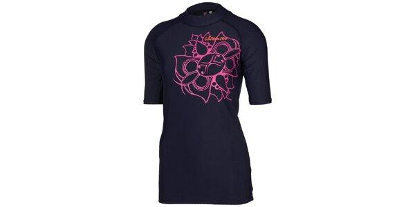 Dámské tmavě modré triko s růžovou květinou Chiemsee