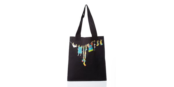 Černá látková taška s potiskem Como Una Regadera