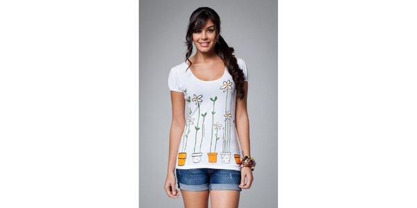 Dámské bílé tričko Como Una Regadera s barevným potiskem