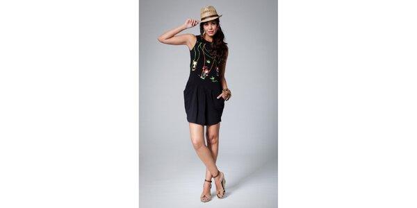 Dámské černé šaty Como Una Regadera s barevným potiskem
