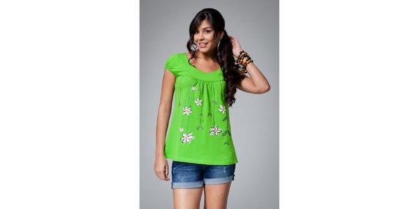 Dámské zelené tričko Como Una Regadera s motivem kopretin