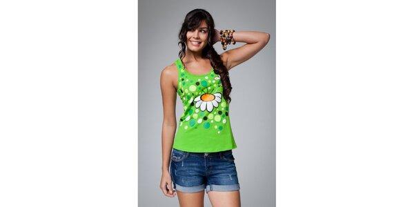 Dámské zelené tílko Como Una Regadera s kopretinou a puntíky