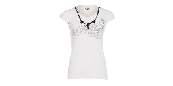 Dámské bílé tričko Lois s potiskem a ozdobnými řetízky