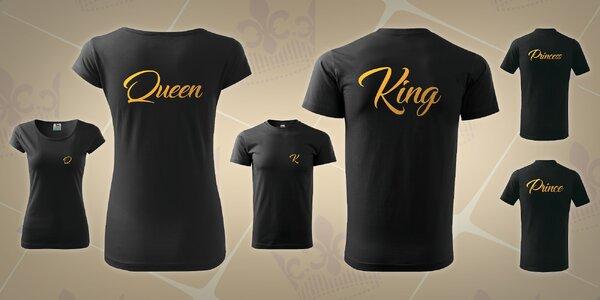Párová trička pro celou rodinu se zlatým potiskem